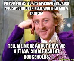 Single Father Meme - oh you object to gay marriage because you say children need a