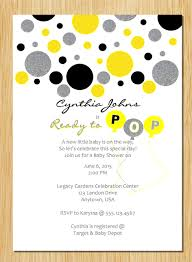 yellow gray black silver ready to pop baby shower invitation