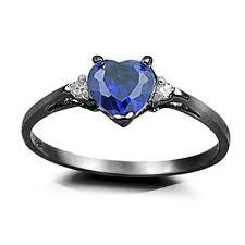 black gold sapphire engagement rings 0 50ct blue sapphire cz black gold ring