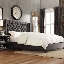 tufted bedroom furniture dark grey headboard inspire q naples gray linen wingback button