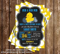 Baby Shower Invitations And Thank You Cards Novel Concept Designs Rub A Dub Dub Rubber Duck Baby Shower