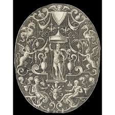 ornamental oval with mars standing a canopy etienne