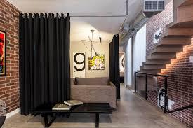 Industrial Apartment Elegant Dark Room Divider Ideas With Curtain For Luxury Industrial