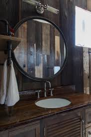 Rustic Bathroom Mirror - bathroom rustic round bathroom mirror with metal frame on