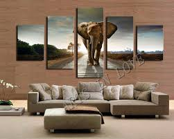african print home decor 5 ppcs elephant painting canvas wall art picture home decoration