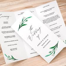 tri fold program rustic printable wedding program order of service template