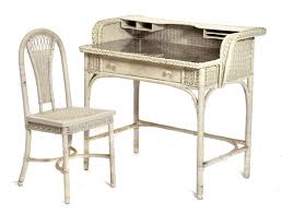 White Wicker Desk by Marked Heywood Wakefield Wicker Desk And Matching Chair Bidsquare