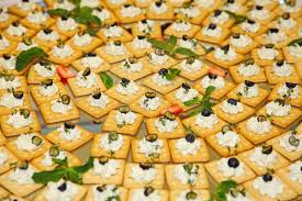 buffet snacks finger food biscuits crackers with soft curd