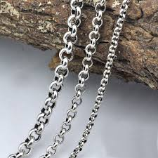 round sterling silver necklace images Vintage sweater chain 925 sterling silver necklace for men jpg