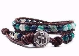 beaded bracelet jewelry images Wrap bracelet teal agate gemstones leather wrap bracelet beaded jpg