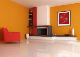 Home Interior Wall Pictures Interior Bedroom Decor With Orange Wall Paint Design Idea