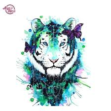 s diy painting 5d white tiger butterfly canvas