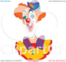 cartoon of an enthusiastic happy clown face royalty free vector
