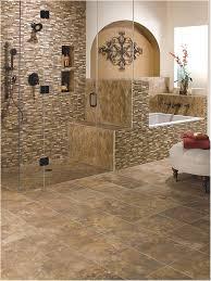 bathroom ceramic tile floor double swing glass door using black