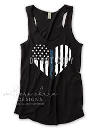 Blue White And Black Flag Thin Blue Line Grunge American Flag Heart Top Southern Charm Designs