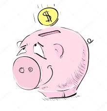 money cartoon pig sketch icon with coin illustration u2014 stock