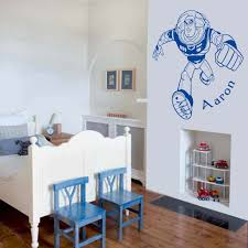 awesome toy story buzz lightyear wall art decal vinyl sticker wall toy story buzz lightyear near a bed wall art decal vinyl sticker
