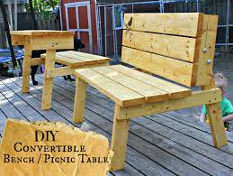 Plans For Picnic Table Bench Combo by The Good Kind Of Crazy Convertible Bench Picnic Table You Can