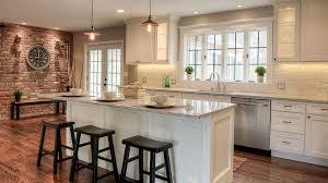 kitchen with counter depth wide windows u0026 brick wall