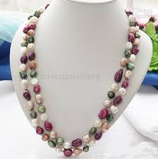 coloured pearl necklace images 2018 new arrive 48inch aa8 11mm multicolor baroque freshwater jpg