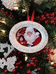 glitter photo tree ornaments two crafting