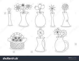Vase Design Linear Beautiful Cartoon Flower Vases Vector Stock Vector