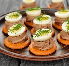 pate canapes canape with pate and egg stock photo image of gourmet 34795814