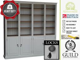 White Library Bookcase solid wood 7ft x 7ft heavy duty library bookcase with doors