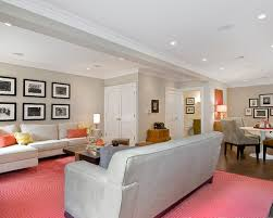 catchy pink carpet for white wall basement as living room area