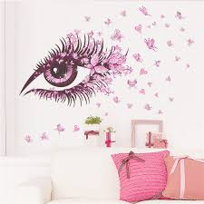 home decor wall flower eyelash butterfly wall stickers for room decor