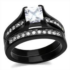 black wedding ring set wedding rings black princess cut wedding ring set choosing the