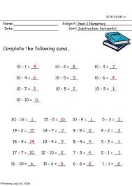 subtraction subtraction worksheets year 1 free math worksheets