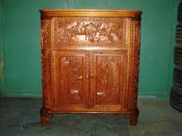 antique oriental hand carved fold open bar liquor cabinet