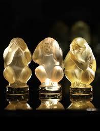 lalique wisdom three wise monkeys sculpture golden set