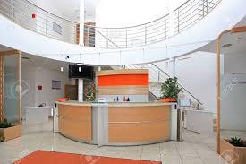 Front Desk Reception Modern Company Entrance With Front Desk Reception Stock Photo