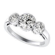 three stone engagement rings milgrain bezel three stone engagement ring edwin novel jewelry