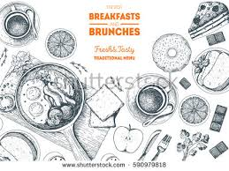 fitness breakfasts brunches top view frame stock vector 635859368