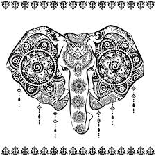 vintage indian elephant with tribal ornaments illustration stock