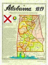 Alabama State Map Statehood Maps