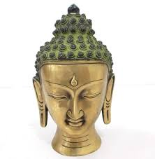 Tibetan Home Decor Vintage Buddha Bust Head Statue Tibetan Chinese Brass Home Decor