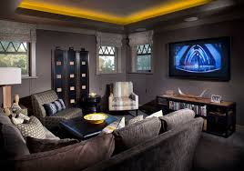 grey sectional couches home theater traditional with cove lighting