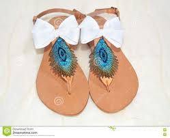 handmade greek leather sandals stock image image of peacock