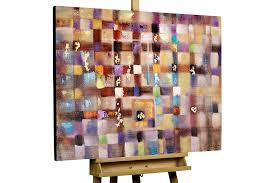 Esszimmerm El Bilder Abstraktes Gemälde Mit Buntem Gitternetz Kunstloft