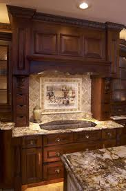 charming wood kitchen island designs with tile mural backsplash
