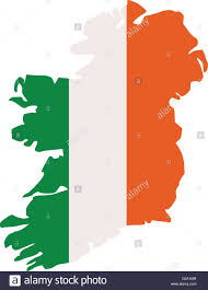 ireland map silhouette in colors of the irish flag stock vector