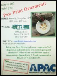clay paw print ornament fundraiser you can sign up or just