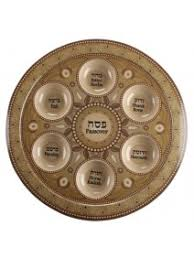 judaica passover pessach bamboo seder plate brown ornaments hebrew