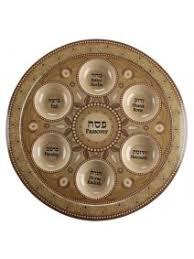 judaica passover pessach bamboo seder plate brown ornaments hebrew