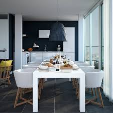 triple d dark navy and white apartment kitchen dining with large