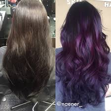 deep purple color instagram naener box dyed color to deep purple balayage hair